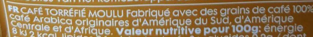 Dosettes de Café - Ingrédients - fr