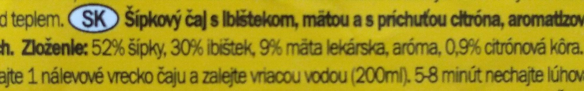 Roseship Lemon & Mint - Ingredients - sk