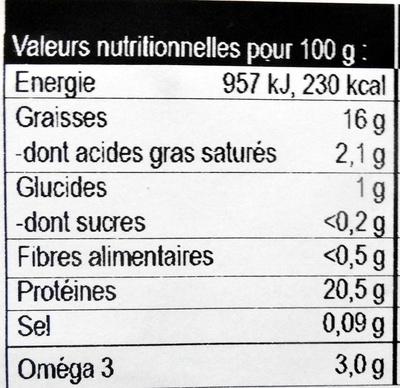 Pavé de Saumon - Información nutricional