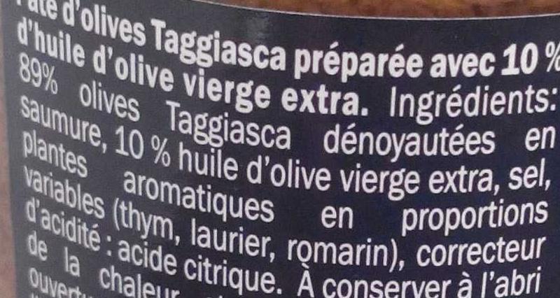 Pâte d'olives Taggiasco - Ingredientes - fr