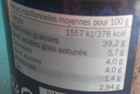 Pâte d'olives Taggiasco - Información nutricional - fr