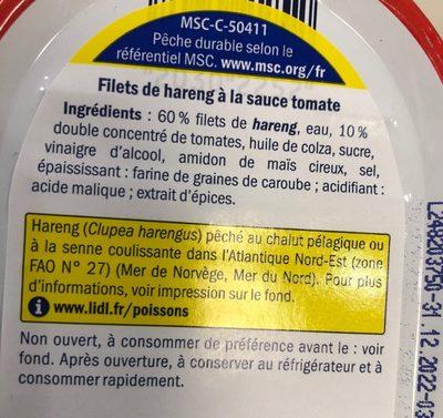Heringsfilet In Tomatensauce / Fischerstolz - Nutrition facts