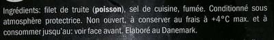 Filets de truite sans peau fumée au bois de genévrier nature (XXL) - Ingredients - fr