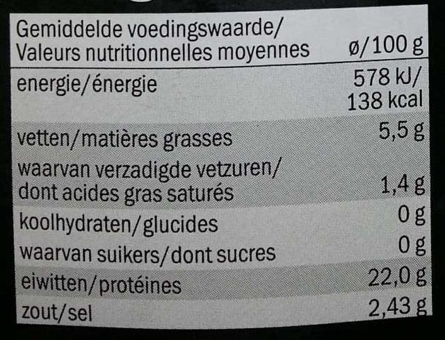 Filets de truite sans peau fumée au bois de genévrier nature (XXL) - Nutrition facts - fr