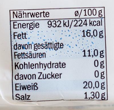 Doux et crémeux 39% Fett i. Tr. - Nutrition facts