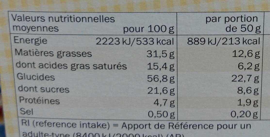 Liodoro Vanille - Voedingswaarden