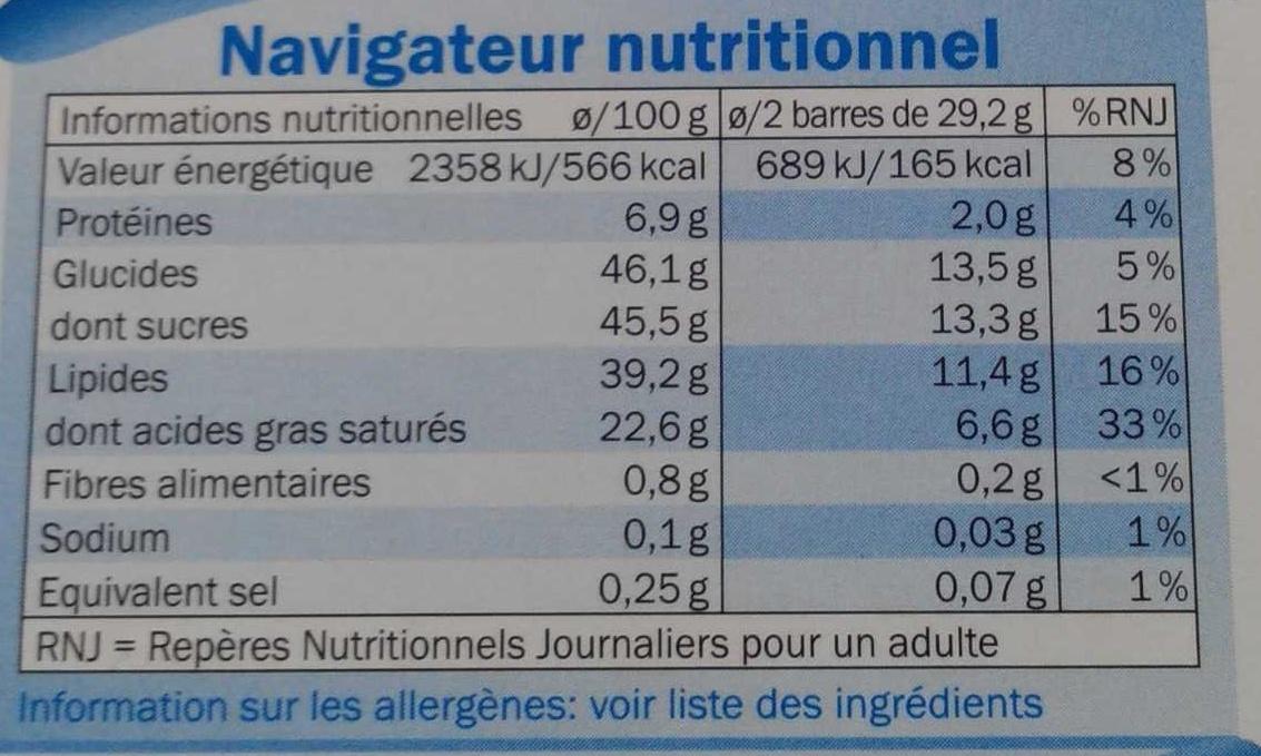 Mousse au chocolat lait - Informations nutritionnelles