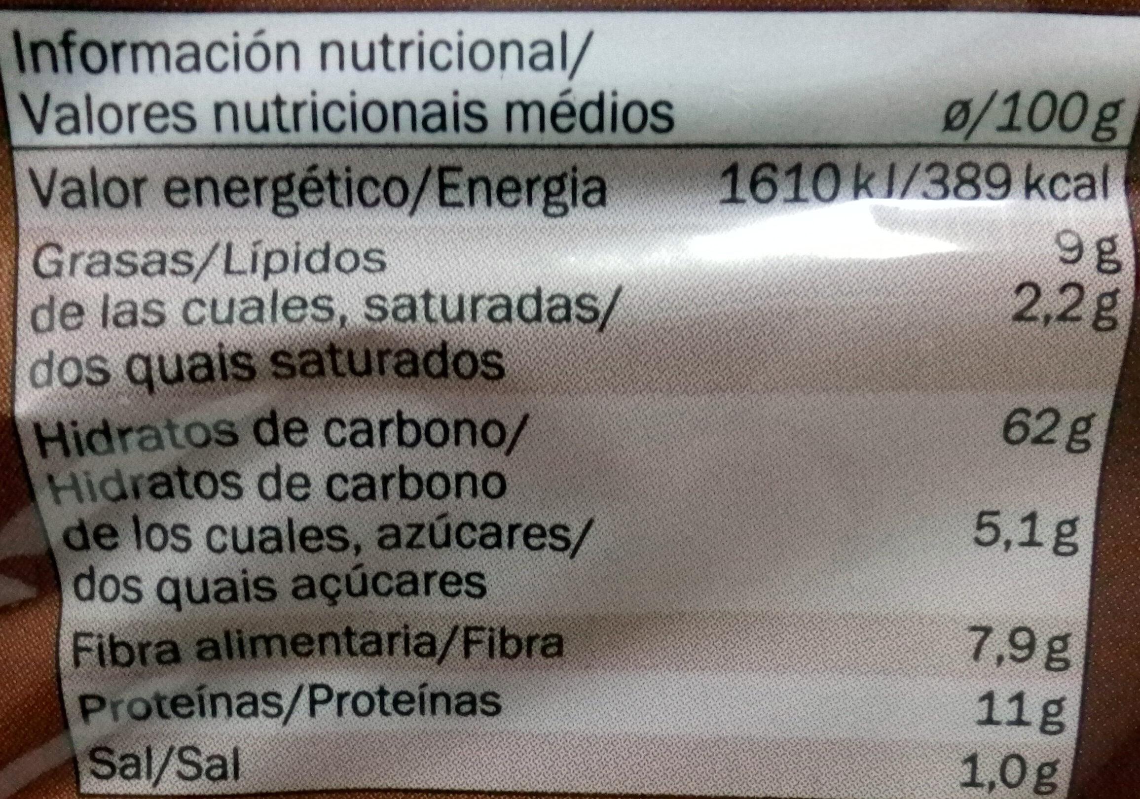 Tostas com farinha integral - Nutrition facts - pt