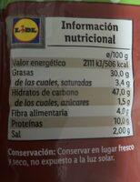 Barritas de pan con pipas - Información nutricional - es