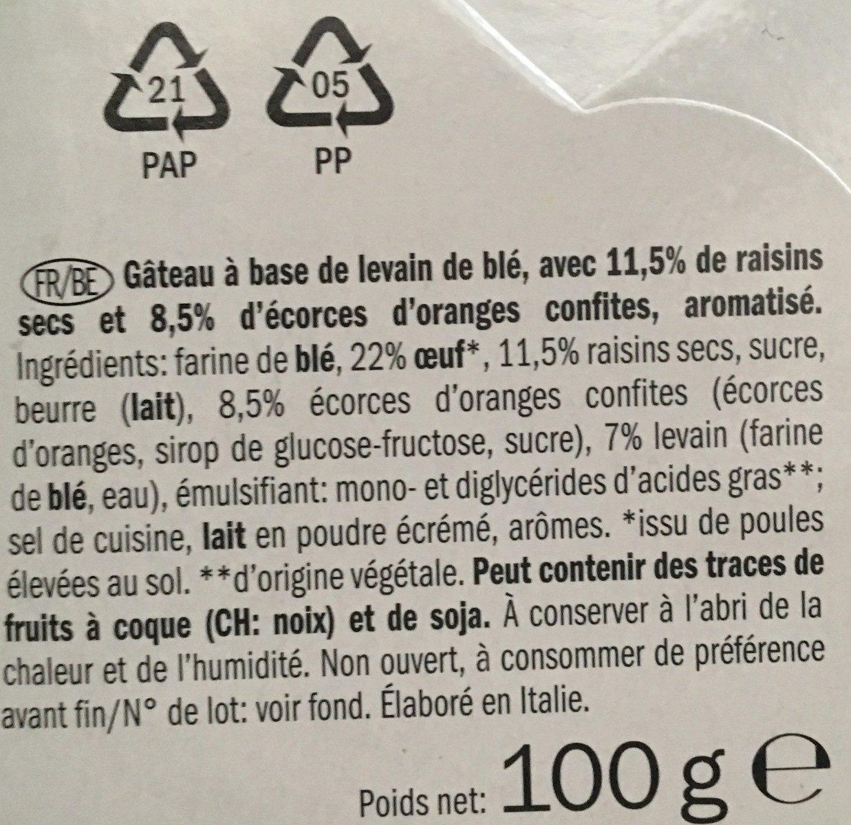 Panettone - Ingredientes - fr