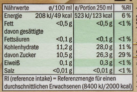 Apple & sour cherry juice - Nutrition facts