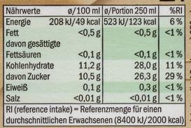 Apple & sour cherry juice - Nutrition facts - de
