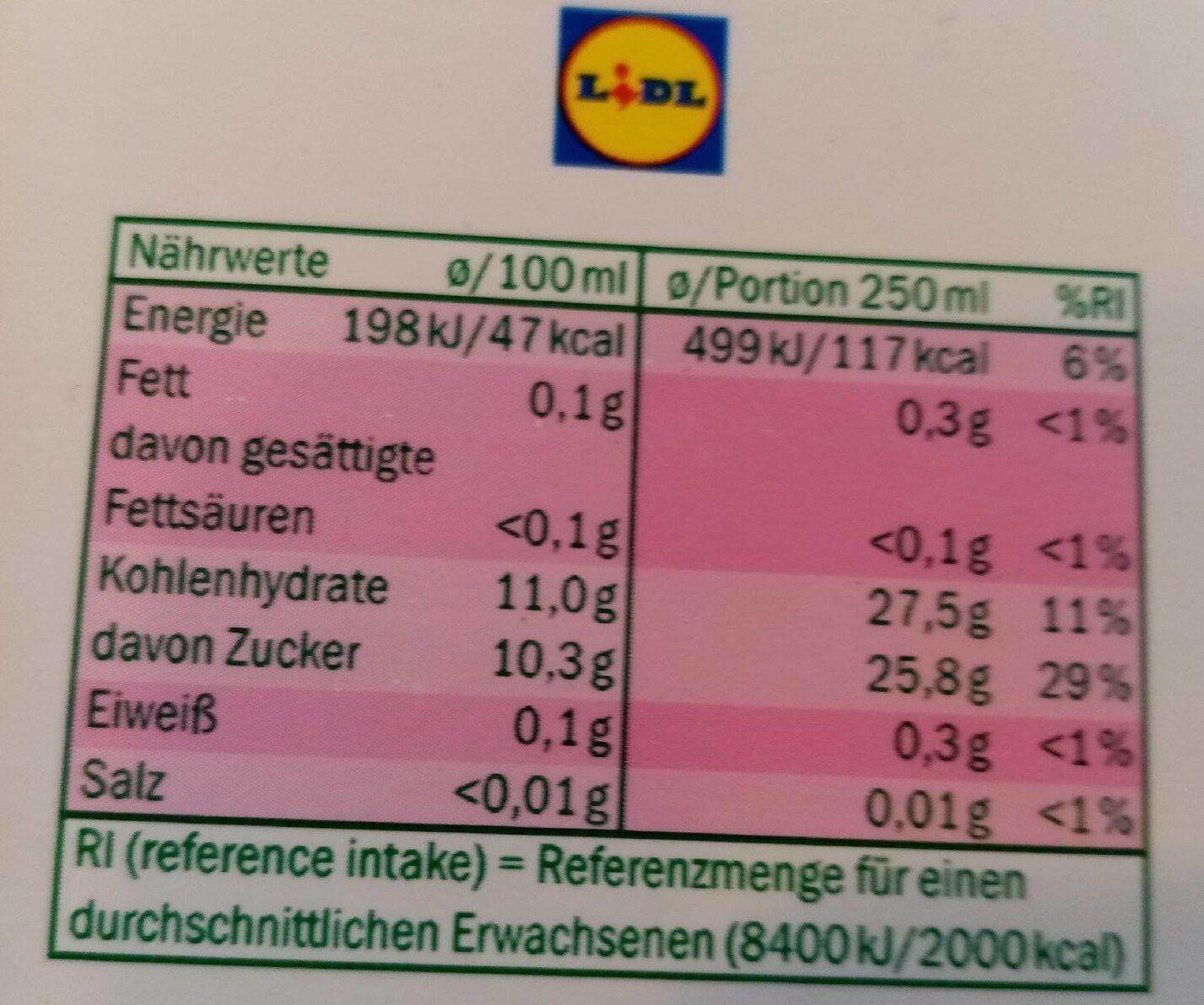 Solevita Apfel-Kirsch Direkt Gepresst aus Deutschem Anbau - Nährwertangaben - de