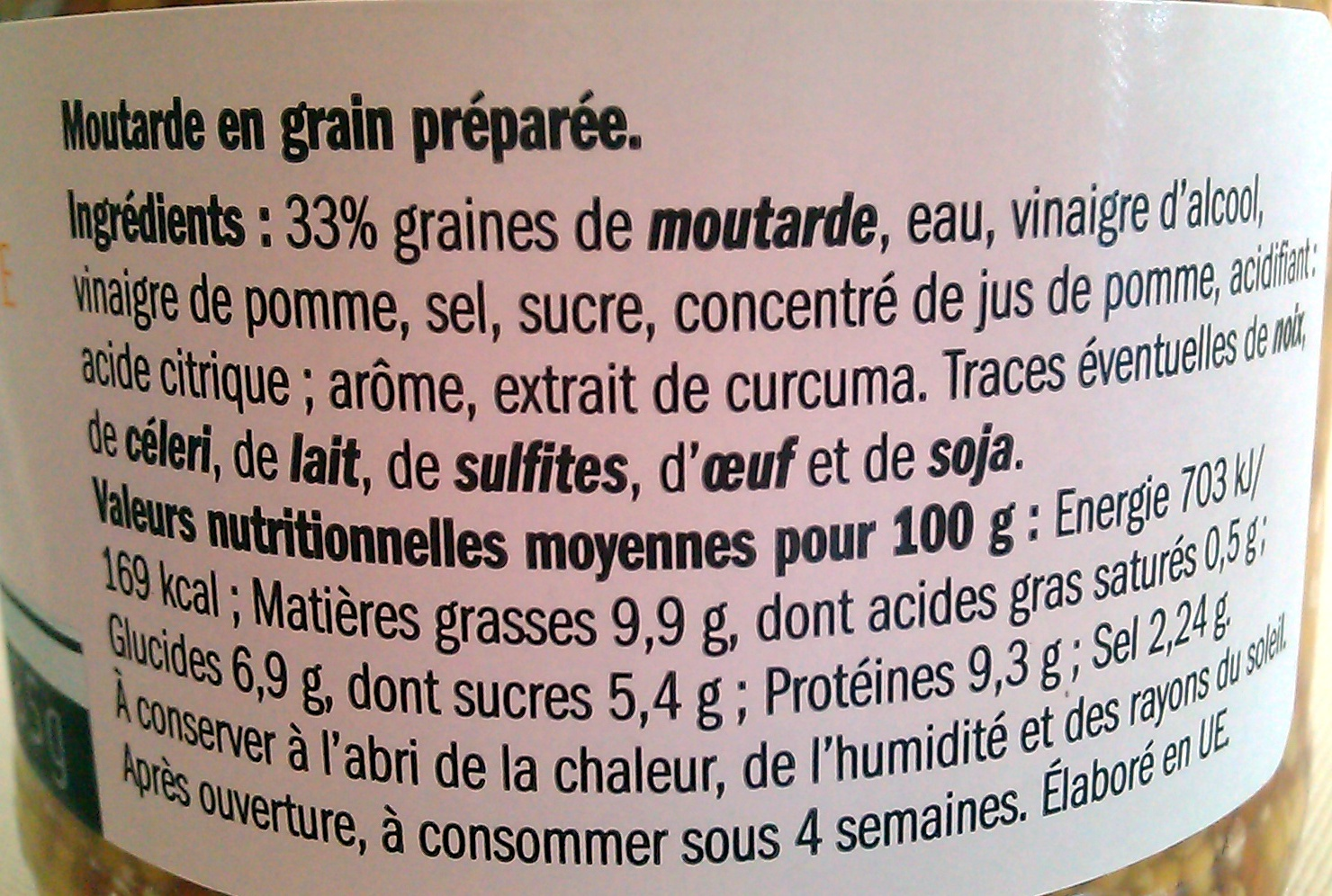 Moutarde en grain préparée - Ingrediënten