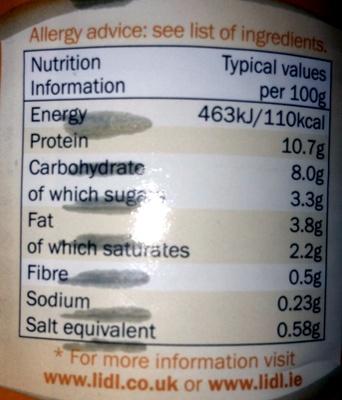 Mild chicken curry - Voedingswaarden