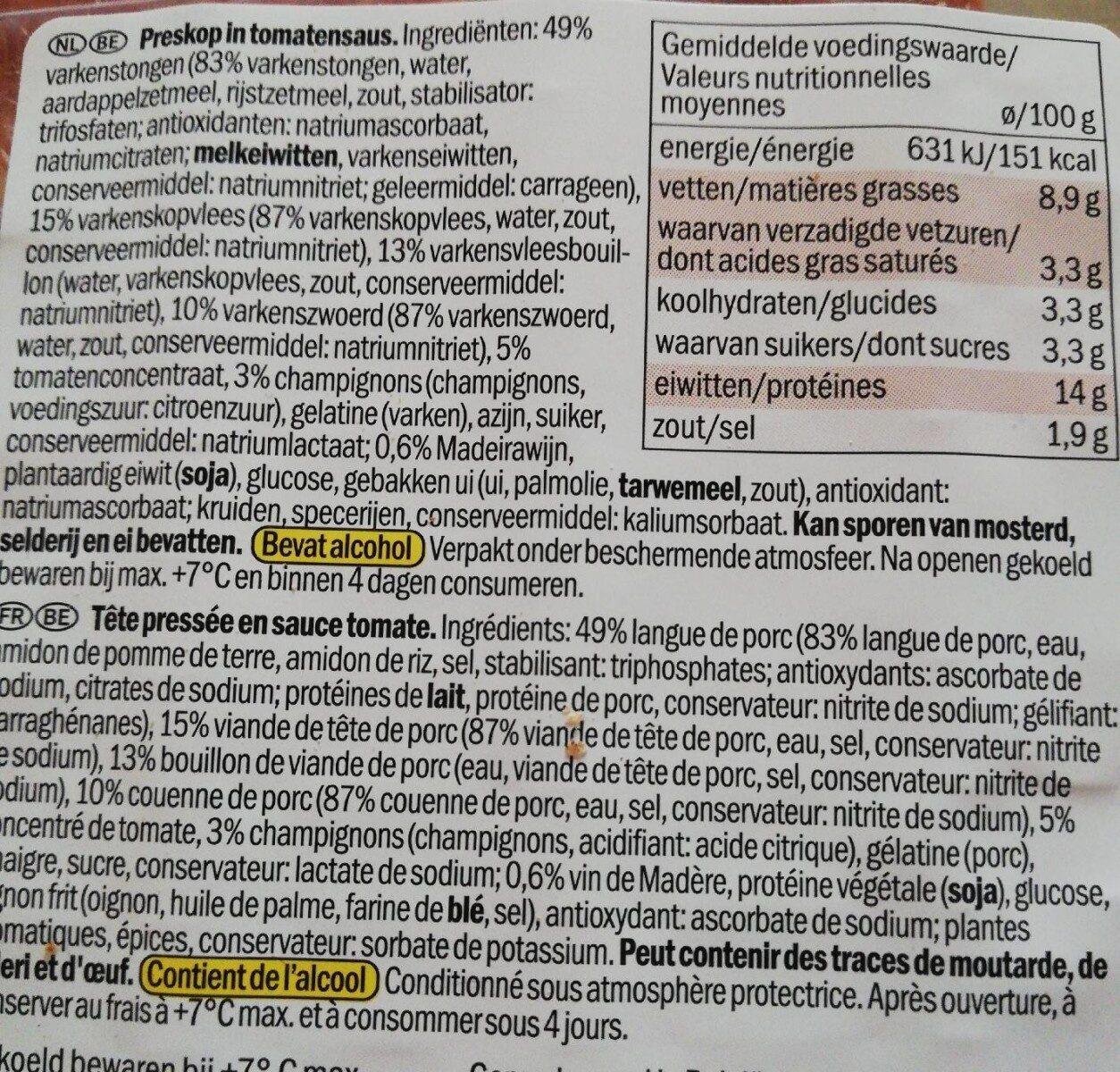 Tête pressée sauce tomate - Ingredients - fr