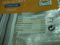 Beurre salé Açores - Nutrition facts