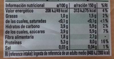 Mezcla de setas - Informació nutricional