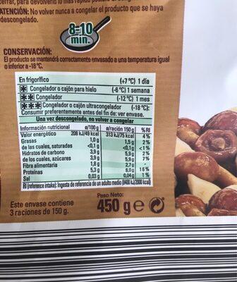 Mezcla de setas - Información nutricional - es