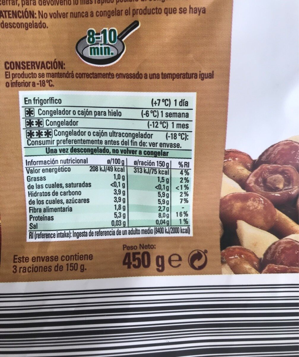 Mezcla de setas - Informació nutricional - es
