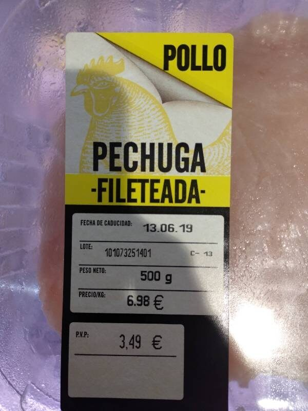 Pechuga fileteada pollo - Producto