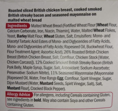 Lidl chicken and bacon sandwich - Ingredients