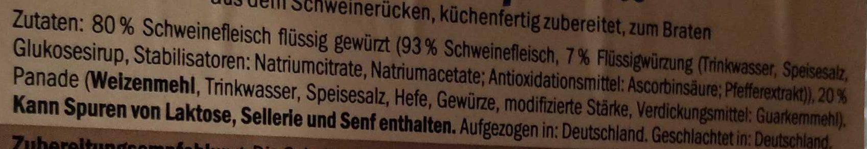 Schnitzel paniert - Inhaltsstoffe - de
