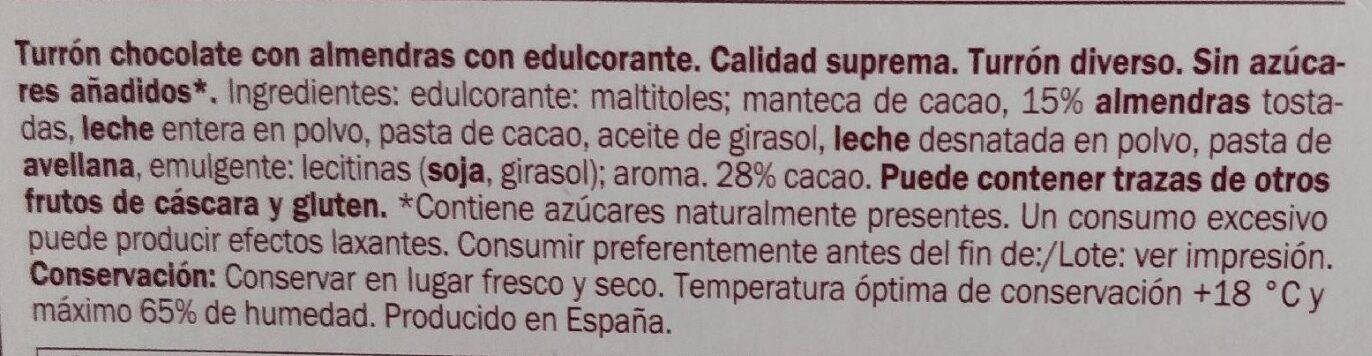 Turron de chocolate con almendras - Ingrédients
