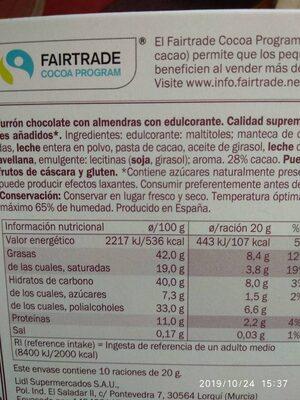 Turron de chocolate con almendras - Informations nutritionnelles