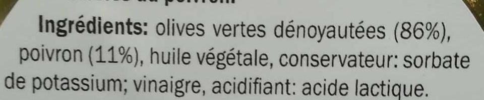 Olives vertes grecques farcies au poivron - Ingrédients