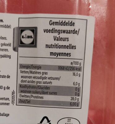 Prosciutto Crudo, Salzig - Informations nutritionnelles - fr