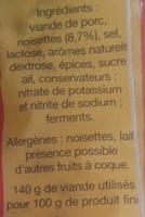 Saucisse sèche droite aux noisettes entières - Ingrédients - fr
