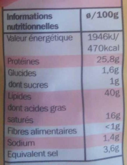 Saucisse sèche droite aux noisettes entières - Informations nutritionnelles - fr