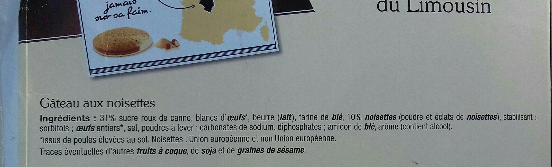 Gâteau moelleux du Limousin - Ingrédients - fr