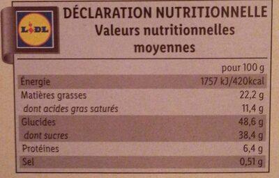 Gâteau moelleux du Limousin - Informations nutritionnelles - fr
