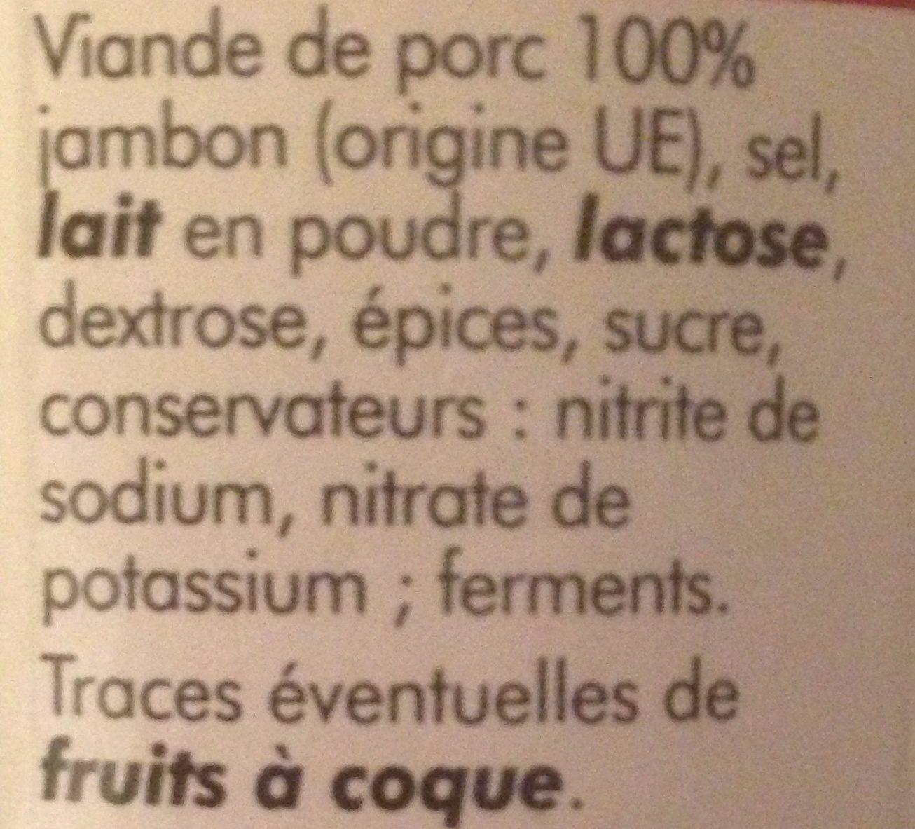 Spécialité saucisson sec au jambon - Ingrédients - fr