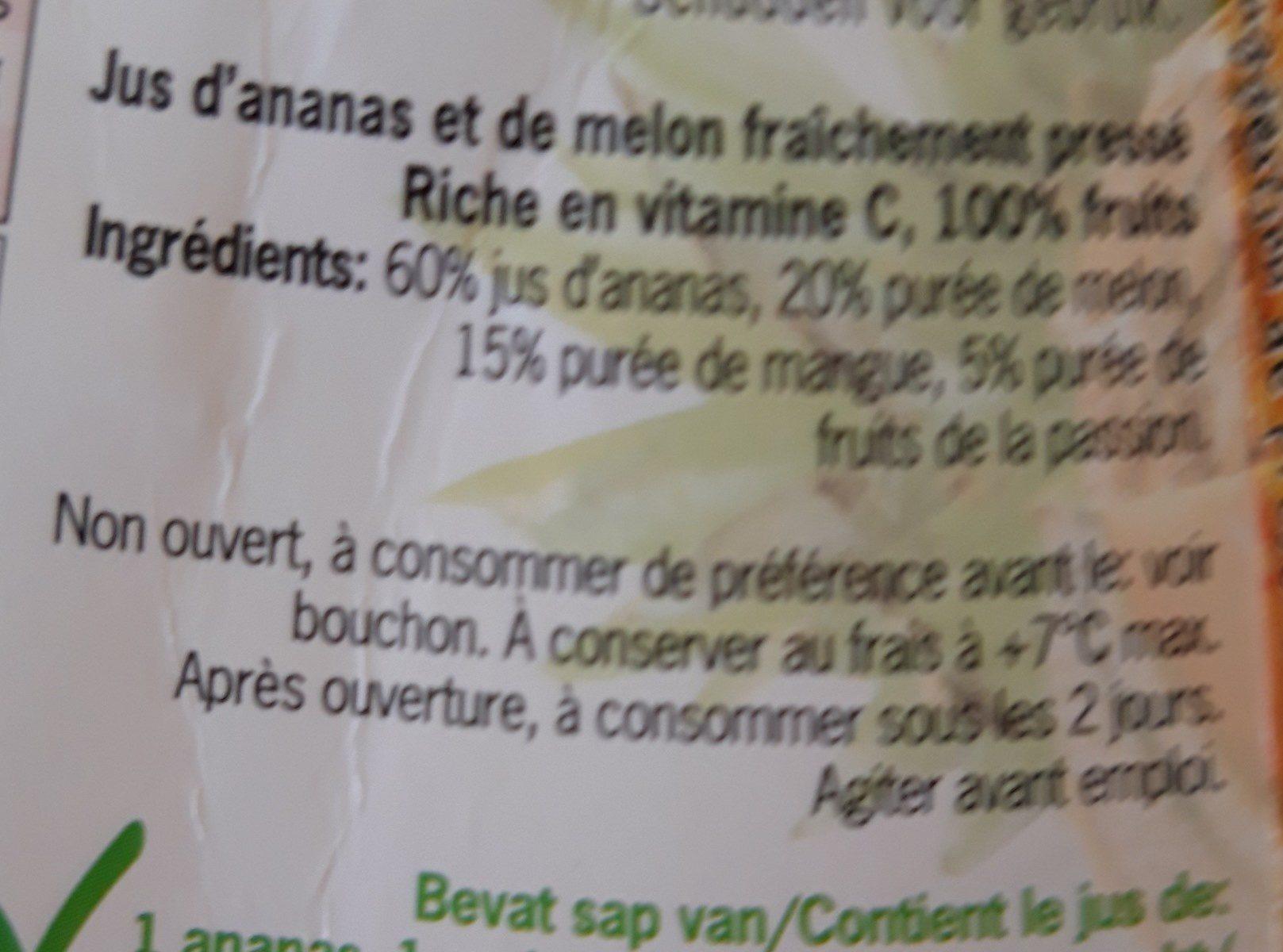 Ananas Meloen Flesje 500 ML (chef Select) Koeling - Ingrédients