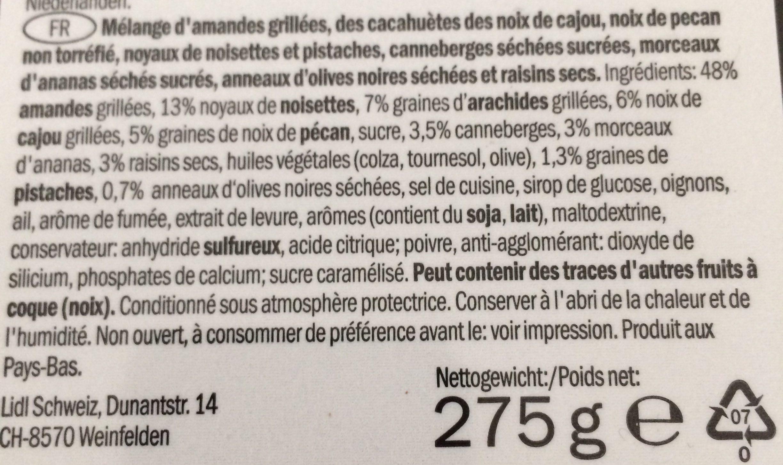 Kerst: Premium Nut Selection Schaal 275 Gram (delicieux) - Ingrédients - fr