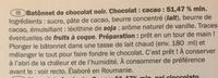 Chocolate stirrers - Ingredients