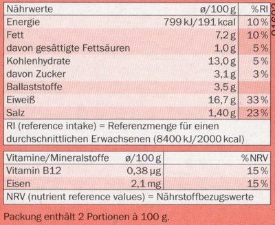 My Best Veggie Hamburguesas vegetarianas - Nutrition facts