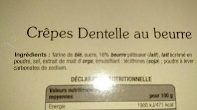 Fines Crêpes dentelle de Bretagne - Ingrédients