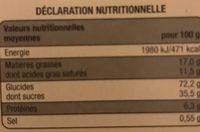 Fines Crêpes dentelle de Bretagne - Informations nutritionnelles