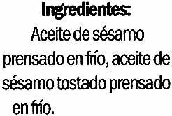 Aceite de sésamo - Ingredientes