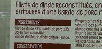 Filets de dinde en tournedos bardés - Ingredients - fr