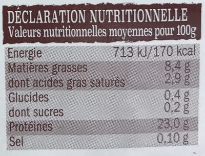 Filets de dinde en tournedos bardés - Nutrition facts - fr