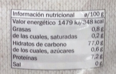 Arroz Bomba - Nutrition facts
