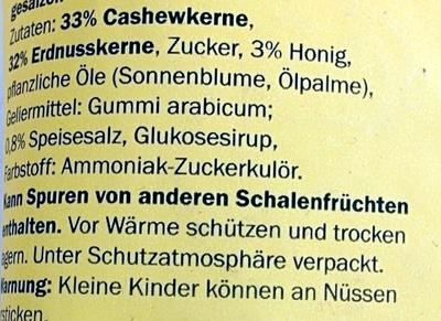 Cashew-Erdnuss-Mix Honig-Salz - Ingredients - de