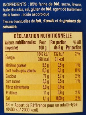 Biscottes froment - Informations nutritionnelles - fr