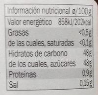 Confit de figues - Información nutricional