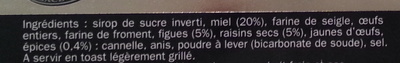 Pain d'épices aux figues et aux raisins - Ingrédients - fr